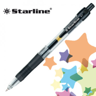 (12) PENNA SFERA SCATTO INK GEL NERO 0.7MM Fine STARLINE