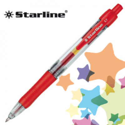 (12) PENNA SFERA SCATTO INK GEL ROSSO 0.7MM Fine STARLINE