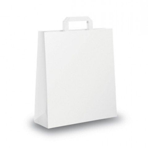 (7) BLISTER 25 SHOPPERS 45X15X50CM BIANCO NEUTRO PIATTINA