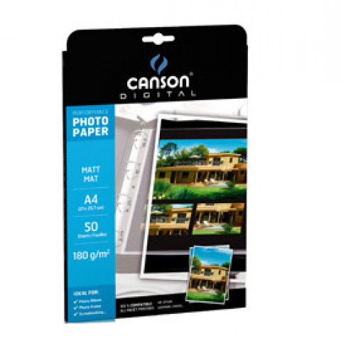 (10) CARTA INKJET A4 180GR 50FG PHOTO MATT PERFORMANCE CANSON