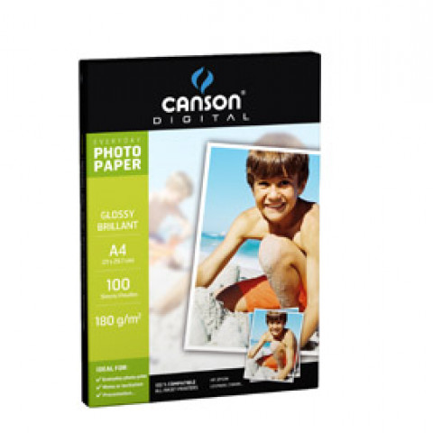 (10) CARTA INKJET A4 180GR 100FG PHOTO GLOSSY EVERYDAY CANSON