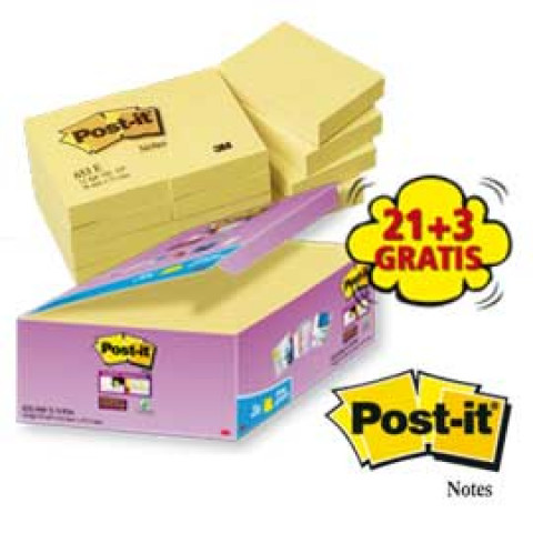 (24) VALUE PACK 21+3 BLOCCO 90fg Post-ita'®Super Sticky Giallo Canarya' ¢ 47.6x47.6mm