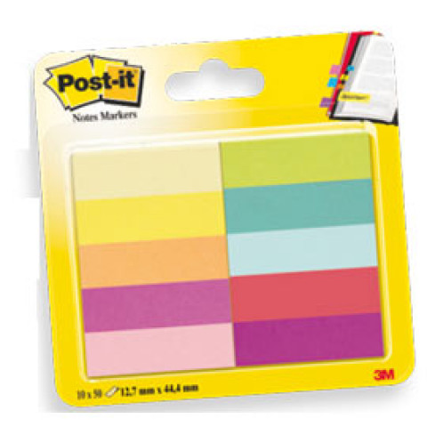 (6) SEGNAPAGINA POST-IT 670-10AB-EU 500FG in 10COLORI INDEX 12,7x44mm in CARTA