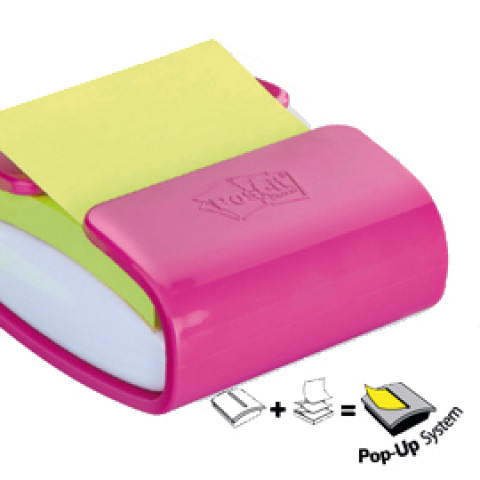 (12) DISPENSER PRO fucsia +1 Post-ita'®Super Sticky Z-Notes verde asparago 76x76mm