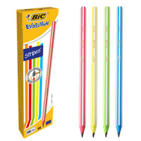 (12) Scatola 12 matite Evolution Stripes BIC