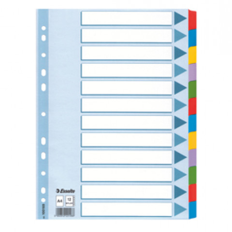 (10) Intercalare MYLAR 12 tasti colorati - f.to A4 ESSELTE