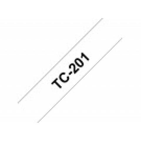 (5) NASTRO BROTHER TC-201 12MM BIANCO/SCRITTA NERO