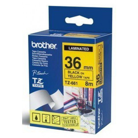 NASTRO BROTHER TZ-e661 36MMX8MT NERO/GIALLO
