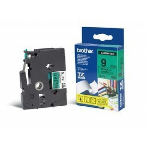 NASTRO LAMINATO BROTHER TZE-721 9MMx8MT NERO/VERDE