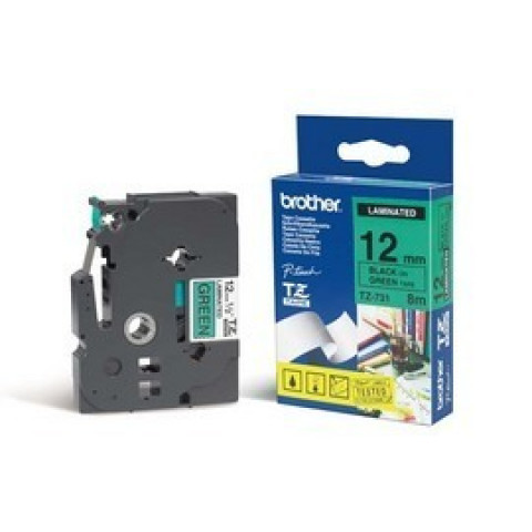 NASTRO BROTHER TZ731 12MMx8MT NERO/VERDE