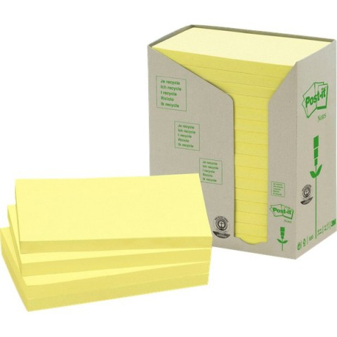 Post-it® Note in carta riciclata - giallo - 127x76 mm - 655-1T (conf.16)