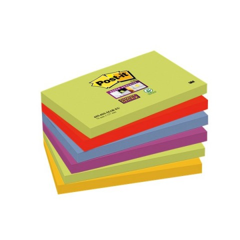 Foglietti Post-It® Super Sticky Marrakesh  - 76x127 mm -  655-6Ss Mar-Eu (Conf.6)