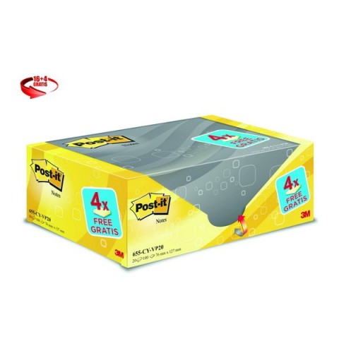 "Foglietti Post-It® Notes Giallo Canary""! Value Pack  - 76x127 mm - Giallo Canary - 655Cy-Vp20 (conf.16+4)"