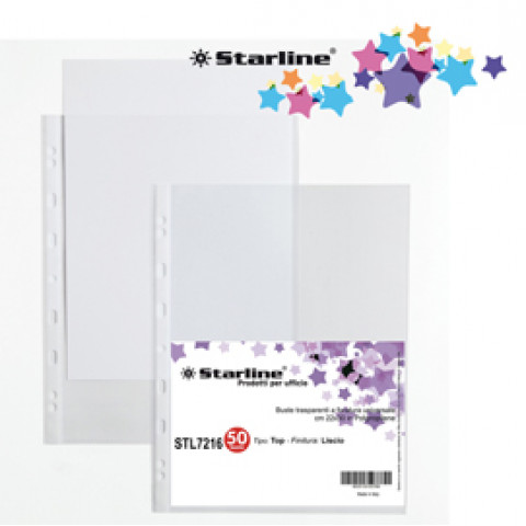 (12) 50 Buste forate 22x30cm Liscio Top Starline